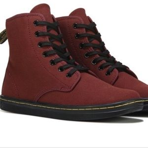 Dr MArtens ShoreDitch Cherry Red Canvas Shoe